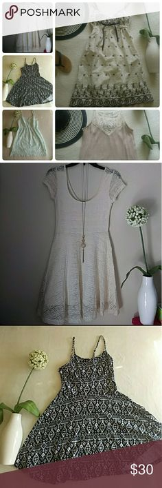 ⭐5 Dress Bundle⭐ All Size SMALL & IN GOOD TO EXCELLENT CONDITION.  Forever 21 Cream Skater Dress Cotton On Tribal Design Dress H&M Mini Dress Light Tan & Brown Dress Boutique Tan&Cream Mini Dress  Each has individual listing if you wish to purchase separately. Check listings for measurements.  🚫 No Trades 🚫  Pet-Free & Smoke-Free Home 🚭  📭📬📮Ships the same if purchased before 11AM. After 11AM, ships the next day📦📦📦 Dresses Mini
