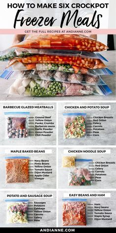 Healthy dinners just got easier with this collection of 6 simple, delicious and healthy freezer meal recipes made with the slow cooker! Perfect for quick weeknight dinners, these recipes won't disappoint! #freezermeals #slowcooker #crockpot #familydinner #dinner