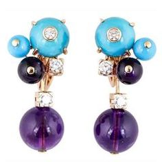 Cartier Les Delices Turquoise Amethyst Diamond Gold Earrings
