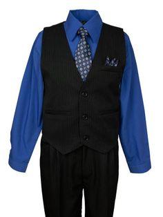 cc1a7b79371a4 Spring Notion Boys Pinstripe Dress Shirt Vest & Pants Set Royal Blue 6  - Click