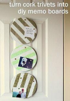 DIY memo boards from cork trivets.