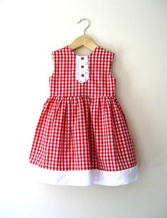Girls Red Gingham Swing Dress by littletboutique on Etsy Toddler Dress, Toddler Outfits, Baby Dress, Kids Outfits, Little Dresses, Little Girl Dresses, Girls Dresses, Baby Girl Fashion, Kids Fashion