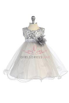 Silver+Sequin+Tulle+Infant+Flower+Girl+Dress+K315-SV+$36.95+on+www.GirlsDressLine.Com