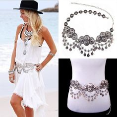 Gypsy Silver Metal Dangle Sexy Boho Bohemian Shimmy Belt Dance Body Chain
