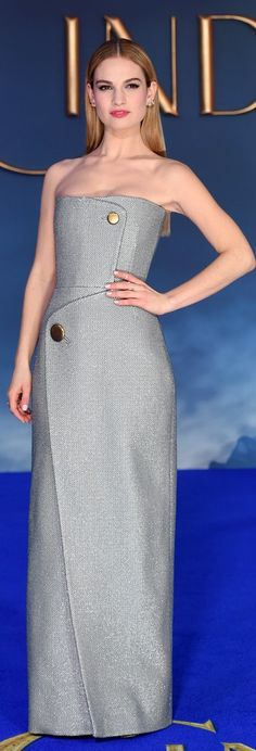 Lily Wore a Sleek Balenciaga Dress to the Cinderella UK Premiere