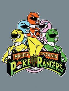 4ec574aa 'Poke Rangers' TV Show Parody 18x24 - Vinyl Print Poster. Pokemon  MashupNerd OutfitsMighty Morphin Power ...