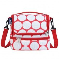 Kids Lunch Box & Bags: Big Dot Red & White Double Decker Lunch Bag