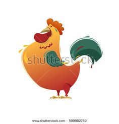Rooster. Vector image. White background