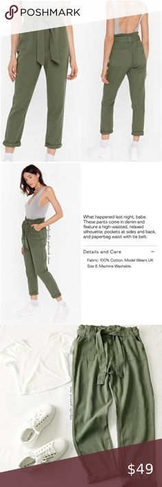 I just added this listing on Poshmark: NWT Belted Green Paperbag Waist Pants. #shopmycloset #poshmark #fashion #shopping #style #forsale #Nasty Gal #Pants Plus Fashion, Womens Fashion, Fashion Tips, Fashion Design, Fashion Trends, Shades Of Green, Nasty Gal, Professional Photographer, Pant Jumpsuit