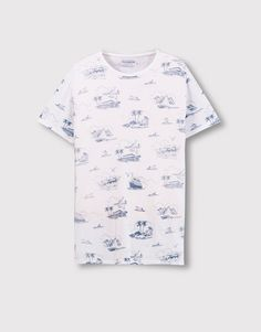 Pull&Bear - hombre - camisetas - camiseta print all over - blanco - 09237571-V2016