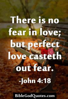 1 John 4:18 There is no fear in love; but perfect love casteth out fear: because fear hath torment. He that feareth is not made perfect in love.
