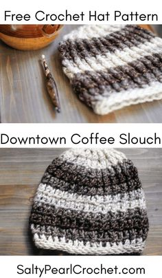 Downtown Coffee Slouch Hat Free Crochet Pattern This easy crochet slouch hat pattern is the perfect quick crochet gift idea. Post stitch cables give the hat a fun textured look, with just the right amount of slouch. Crochet one today! Slouch Hat Crochet Pattern, Chunky Crochet Hat, Crochet Patterns, Chunky Yarn, Crochet Pumpkin Hat, Crocheted Hats, Dress Patterns, Crochet Gratis, Crochet Cap