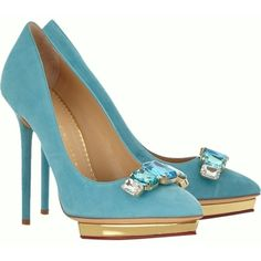 Charlotte Olympia Turquoise Pump (6 440 UAH) ❤ liked on Polyvore featuring shoes, pumps, heels, charlotte olympia pumps, charlotte olympia shoes, heels & pumps, turquoise pumps and charlotte olympia