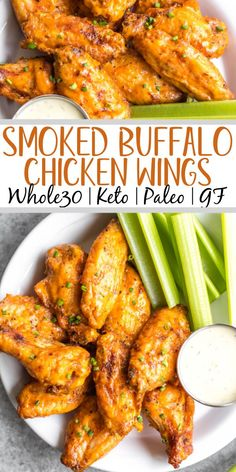 These Whole30 smoked buffalo wings are simple, easy to prepare, and always a crowd pleaser! These chicken wings require a few ingredients, and are not only Whole30, but also Paleo, gluten-free and low carb/keto. These wings are perfect for a healthy weeknight dinner, meal prep, or any gathering. Smoking wings is a straightforward process that anyone can master! #whole30chickenwings #whole30chicken #smoker #smokedwings #buffalowings #ketochicken Paleo Recipes Easy, Gluten Free Recipes For Dinner, Paleo Dinner, Whole 30 Recipes, Healthy Chicken Recipes, Clean Eating Recipes, Lunch Recipes, Healthy Dinner Recipes, Real Food Recipes