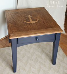 Dear Emmeline: Anchors Aweigh End Table; using contact paper to create a stain stencil