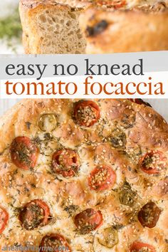 Easy no knead tomato focaccia is so flavourful, packed with olive oil, tomatoes and fresh herbs. It's crispy and golden outside, fluffy and pillowy inside. | aheadofthyme.com #focaccia #tomatofocaccia #easybread #nokneadbread #focacciabread via @aheadofthyme