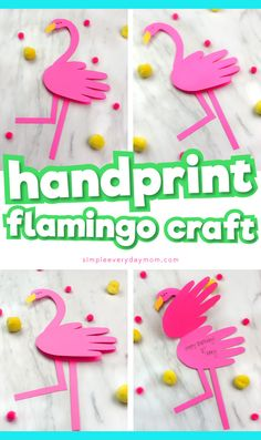 Handprint Flamingo Card Craft for kidsSummer craft idea for children This handprint flamingo craft is a fun and simple paper craft that kids will love. It is a great art project for preschool, kindergarten and Pink Crafts, Paper Plate Crafts, Paper Crafts For Kids, Preschool Crafts, Easy Crafts, Diy Paper, Paper Crafting, Easy Art Projects, Craft Projects For Kids