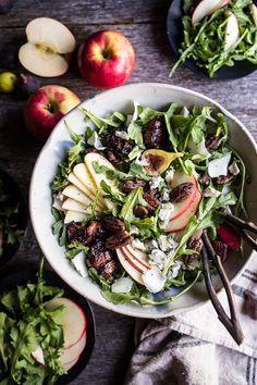 Bacon Wrapped Fig and Honeycrisp Apple Salad with Salted Caramel Pecans | halfbakedharvest.com @hbharvest