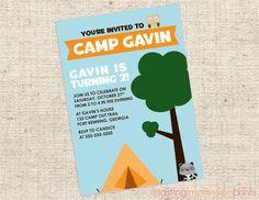 Camping Birthday Invitation (DIGITAL PDF FILE). $10.00, via Etsy.