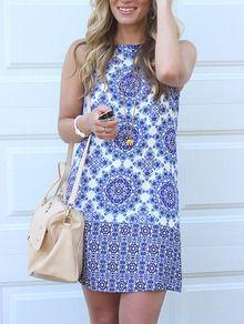 Azul sem mangas branco do vintage do vestido -SheIn (Sheinside)
