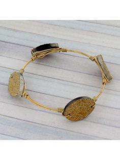 Handcrafted Gold Druzy Quartz and Goldtone Wire Bangle #wiredbangle #baubles #designerinspired #baublesandbangles #wiredbracelet
