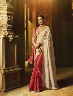 Beige Red Silk Party Wear Saree With Beige Blouse Party Wear Sarees Online, Silk Sarees Online, Silk Sarees With Price, Traditional Silk Saree, Designer Sarees Online Shopping, Indian Designer Sarees, Trendy Sarees, Embroidery Saree, Work Sarees