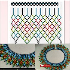 Netting pattern for Necklace Diy Necklace Patterns, Bead Loom Patterns, Beaded Jewelry Patterns, Embroidery Jewelry, Beading Patterns, Beading Projects, Beading Tutorials, Bead Crafts, Jewelry Crafts