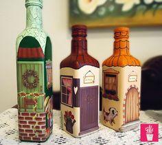 Reciclagem de garrafas com decupagem