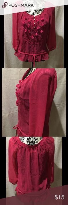 Hollister Co. Chiffon 3/4 Sleeve Blouse Hollister Co. Chiffon 3/4 Sleeve Blouse Color Pink Size Medium Excellent Condition worn twice Hollister Tops Blouses