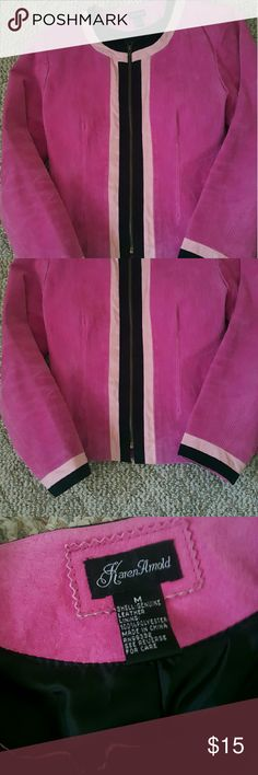 Pink Suede Jacket Pink with black trim. 100% leather. Lined.Zipper front. Excellent condition. Karen Arnold Jackets & Coats