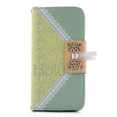 Printing Lace Flower Pattern Wallet Style Magnetic Flip Stand TPU+ PU Leather Case for iPhone 6 6S 4.7 inch with a Chain (Green)