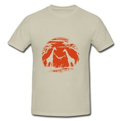 Affordable Two Giraffes Form A Rocking Bed Natural Adult Standard Weight T-shirt For Men Gifts-Animals & Nature T-shirts | HICustom.net