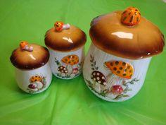 #merrymushroom #sears #mushroom Merry Mushroom Canister Set of 3 w/ Lids 1978 Vintage Ceramic Sears Kitchen Jars