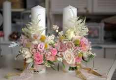 Lumanari nunta scurte/Wedding candles Fall Flowers, Wedding Flowers, Wedding Company, Wedding Decorations, Table Decorations, Centre Pieces, Nasa, Paper Flowers, Wedding Cards