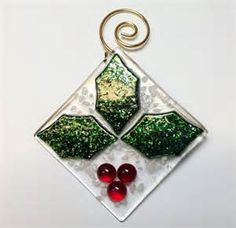 Fused Glass Holley and Berries Christmas Ornament