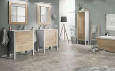 Combine melamines Premium White and Natural Nebraska Oak for your bathroom. Double Vanity, Divider, Bathroom, Classic, Furniture, Design, Home Decor, Nebraska, Natural
