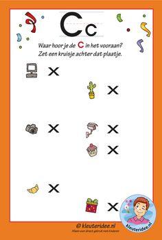 Pakket over de letter c blad 12, waar hoor je vooraan de c, de antwoorden, letters aanbieden aan kleuters, kleuteridee.nl..