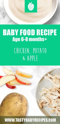 Tasty homemade baby food with chicken, potato and apple. - Tasty homemade baby food with chicken, potato and apple. Age months+ / Stage Easy to make! Meat Baby Food, Apple Baby Food, Baby Food Recipes Stage 1, Chicken Baby Food, Healthy Baby Food, Apple Chicken, Baby Food 8 Months, 6 Month Baby Food, Baby Food By Age