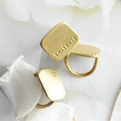 Stamped Brass Rectangle Ring
