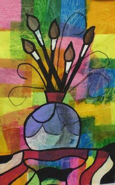 Vase et pinceaux Artsonia Art Museum :: Artwork by Ryan3781 still-life elementary art lesson collage drawing