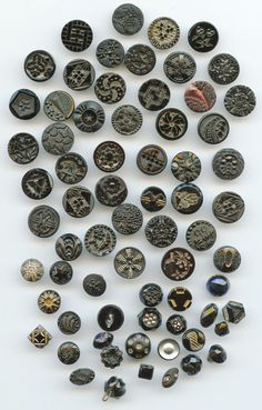 vintage glass buttons | SOLD: 69 small small black glass buttons antique and vintage buttons