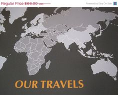 World Map Mounted On Foam Board His And Hers Personal Map X - 16x20 world map