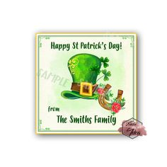 Patrick's Day Printable Tag-Happy St Patrick's Day-D.Y Tags-You Print-St. Printable Tags, Printables, St. Patrick's Day Diy, Sticker Paper, Stickers, Happy St Patricks Day, Personalized Tags, Letter Size, Sticker