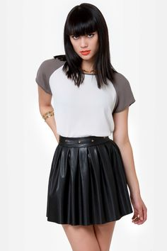 Edgy Studded Skirt - Black Skirt - Vegan Leather Skirt - $38.00