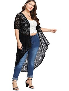 e040dd04df05b Shop Plus Dip Hem Guipure Lace Kimono online. SHEIN offers Plus Dip Hem  Guipure Lace Kimono   more to fit your fashionable needs.