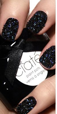 Caviar Manicure by Ciaté. Coming soon to all Sephora stores. Caviar Manicure by Ciaté. Coming soon to all Sephora stores. Caviar Manicure by Ciaté. Coming soon to all Sephora stores. Big Nails, Black Nails, Love Nails, How To Do Nails, Hair And Nails, Pretty Nails, Black Glitter, Black Sparkle, Black Polish