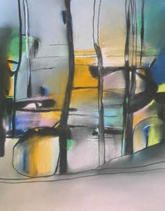 Messum's | Fine Art Est.1963 David Blackburn, treese and boulder - sea edge , pastel, 65 x 51cm Abstract Landscape, Abstract Art, Aqa, A Level Art, Bouldering, Outline, Art Work, Landscapes, Art Gallery