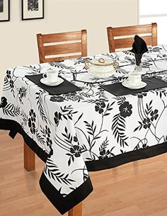Black White Cotton Spring Floral Square Tablecloths For Dinning Tables 54 X 54 Inches, Black Border Dining Table Cloth, Dinning Table, Table Linens, Kitchen Dining, Burlap Lace Table Runner, Slate Appliances, Dinner Party Table, Cloth Napkins, Table Covers