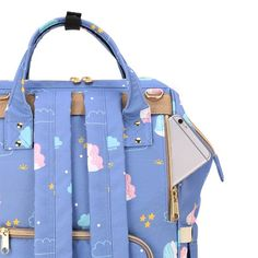 Sunveno - Diaper Bags - Unicorn Blue  Product details For the Stylish and Traveller Mom's, this Unicorn Diaper Bag is the best. This Sunveno diaper bag comes with beautiful unicorn print and a lovely subtle blue color to make this extremely spacious bag, turn heads around. The wide zipper opening with metal support and beautifully crafted golden zippers give this bag a royal look. Despite all the space and accessories, this a light weight bag weighing only 750 gms, Not even a Kg! The unique feat Sunveno Diaper Bag, Trendy Diaper Bags, Weight Bags, Beautiful Unicorn, Royal Look, Unicorn Print, Baby Items, Zippers, Space