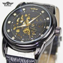 Winner Diamond Skeleton Design Black Golden Skeleton Watch Men Automatic Watch Horloge Erkek Saat Male Clock Men Orologio Uomo